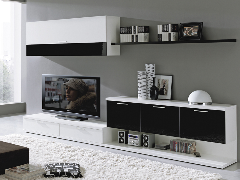Deco ideas salinas salones black white for Decorar mueble de salon moderno