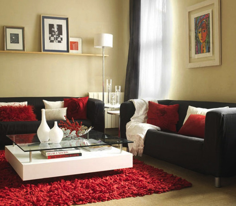 Deco ideas salinas salones black white for Red and black themed living room